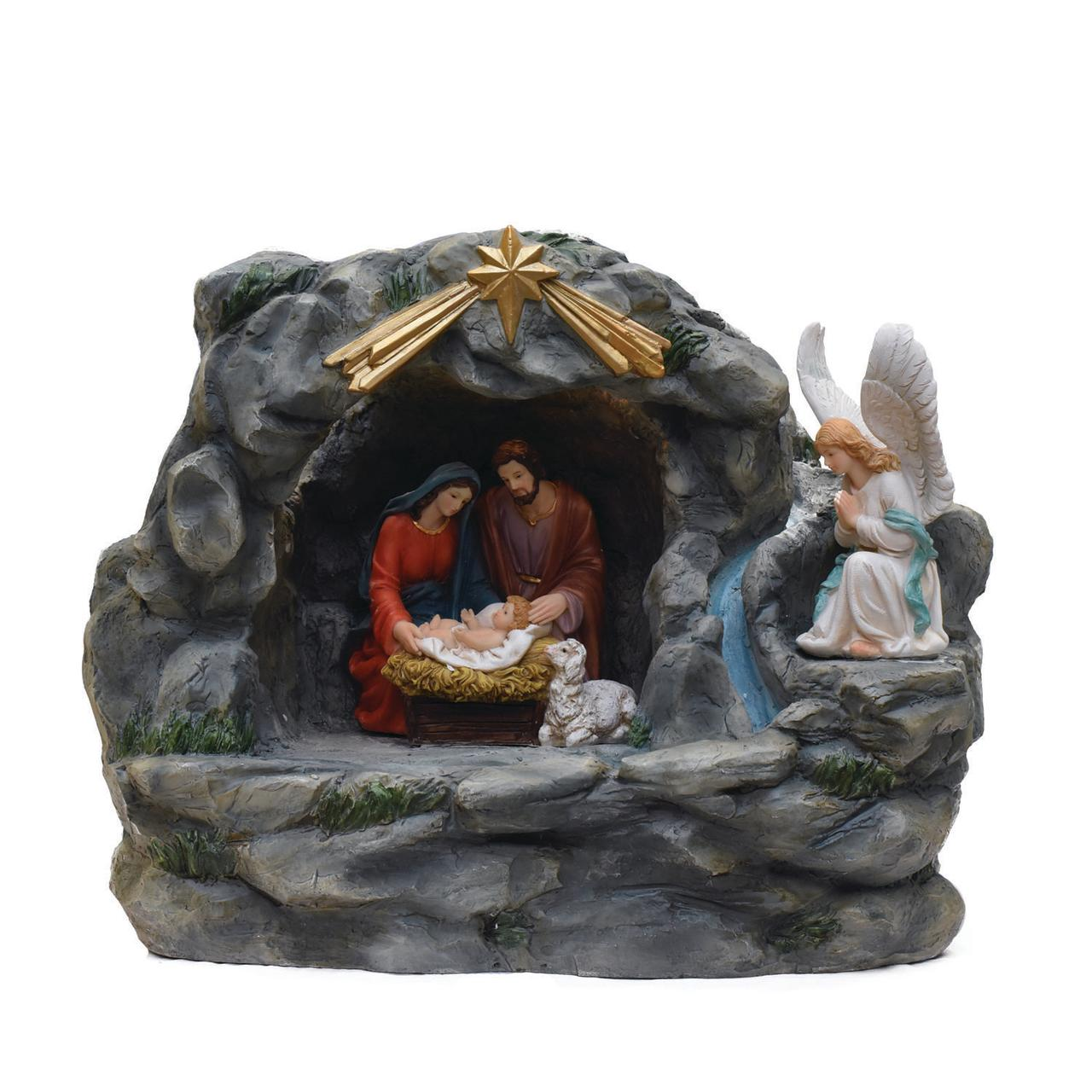 "18.5"" Holy Family and Angel Religious Nativity Fountain with Lamp Table Top Christmas Decoration"