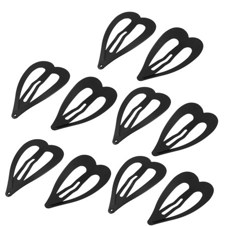Design Snap (Unique Bargains Girls Hairstyle Hairdressing Heart Design Snap Hair Clips Black x)