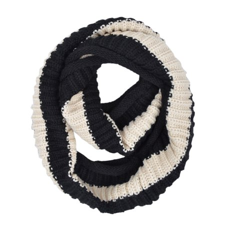 Premium Winter Knit Striped Infinity Loop Circle Scarf (Black And Gray Striped Scarf)
