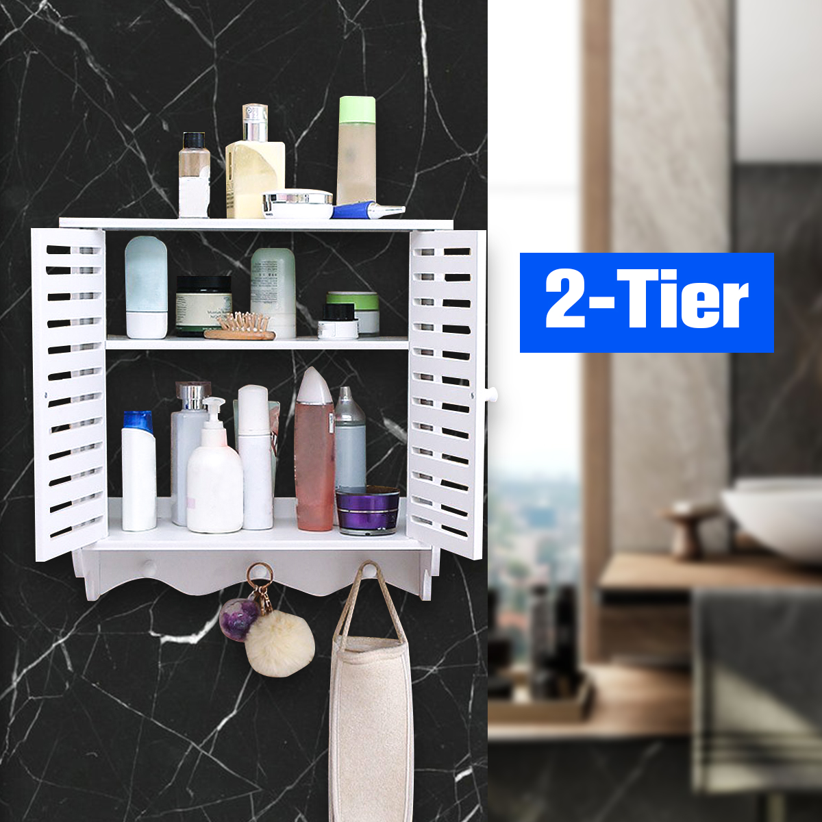 Picture of: 2 Tier Bathroom Wall Mount Shelf Shower Cosmetic Storage Closet Organizer Holder Walmart Canada