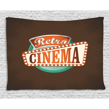 Movie Theater Tapestry, Retro Style Cinema Sign Design Film Festival Hollywood Theme, Wall Hanging for Bedroom Living Room Dorm Decor, 60W X 40L Inches, Brown Turquoise Vermilion, by Ambesonne