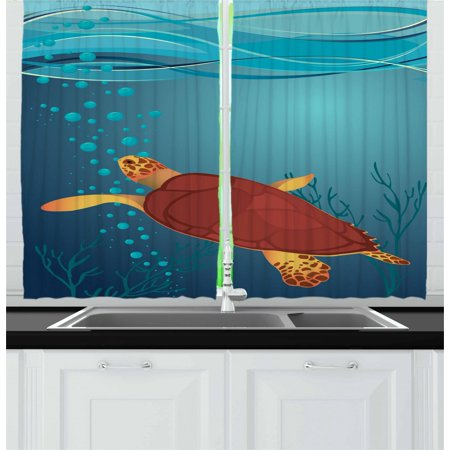 Air Curtain Bubble (Turtle Curtains 2 Panels Set, Cartoon Illustration of a Coffee Color Tortoise with Air Bubbles Corals and Seaweeds, Window Drapes for Living Room Bedroom, 55W X 39L Inches, Multicolor, by)
