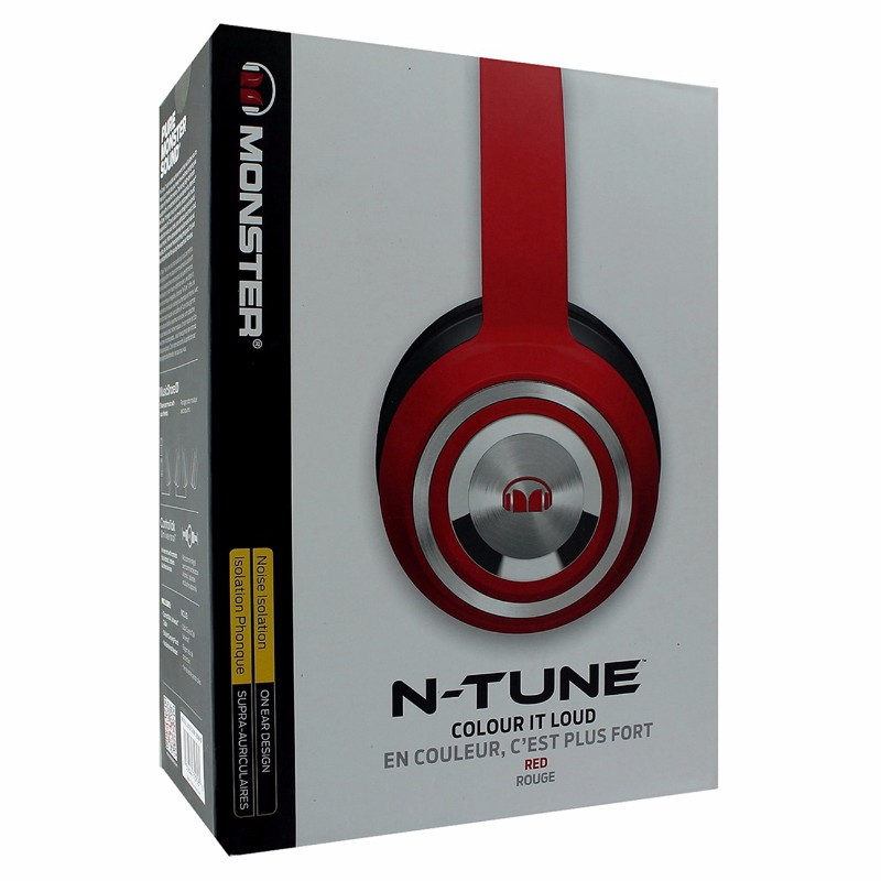 Monster N-Tune Noise Isolation Wired On-Ear Headphones - Red
