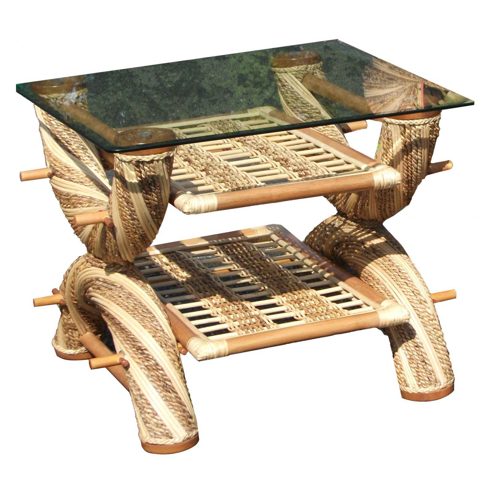 Spice Island Wicker Maui Twist End Table with Glass Top