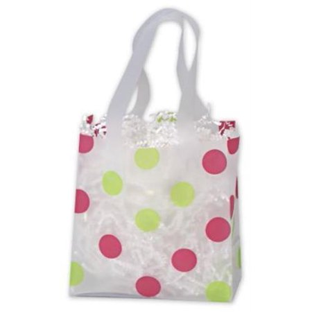 268 060306 Pgdc Pink   Green Dots Clear Frosted Flex Loop Shoppers