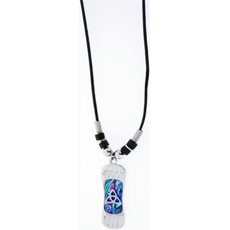 Necklace Blue Paua Shell Snowboard With Knots Adj