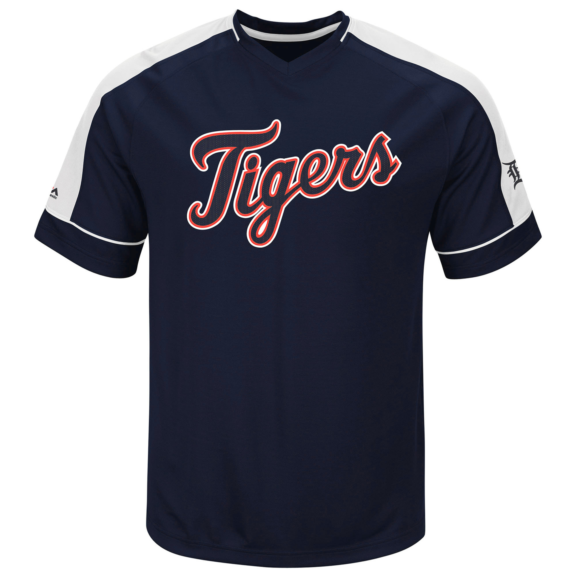 "Detroit Tigers Majestic MLB ""Lead Off Hitter"" V-Neck Men's Fashion Jersey"
