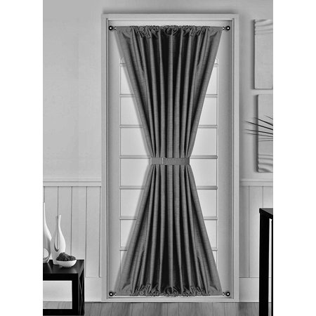 1 Pc Charcoal Insulated Heavy Thick French Door Thermal Blackout Rod Pocket Curtain Panel With