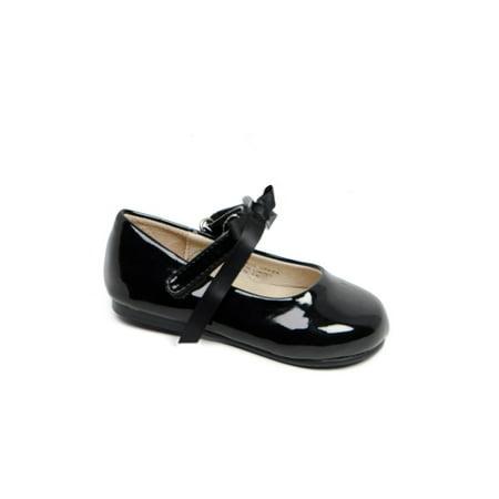 Black Patent Mary Jane Shoes - Pazitos Girls Black Patent Bow Ballerina Mary Jane Shoes