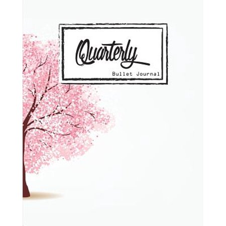 Bullet Journal: Dot Grid, Quarterly Guided, Pink Tree, Cherry Blossoms Cover Notebook, 8 X 10, 90 Page: Small Journal Notebook Diary for Adults and Kids
