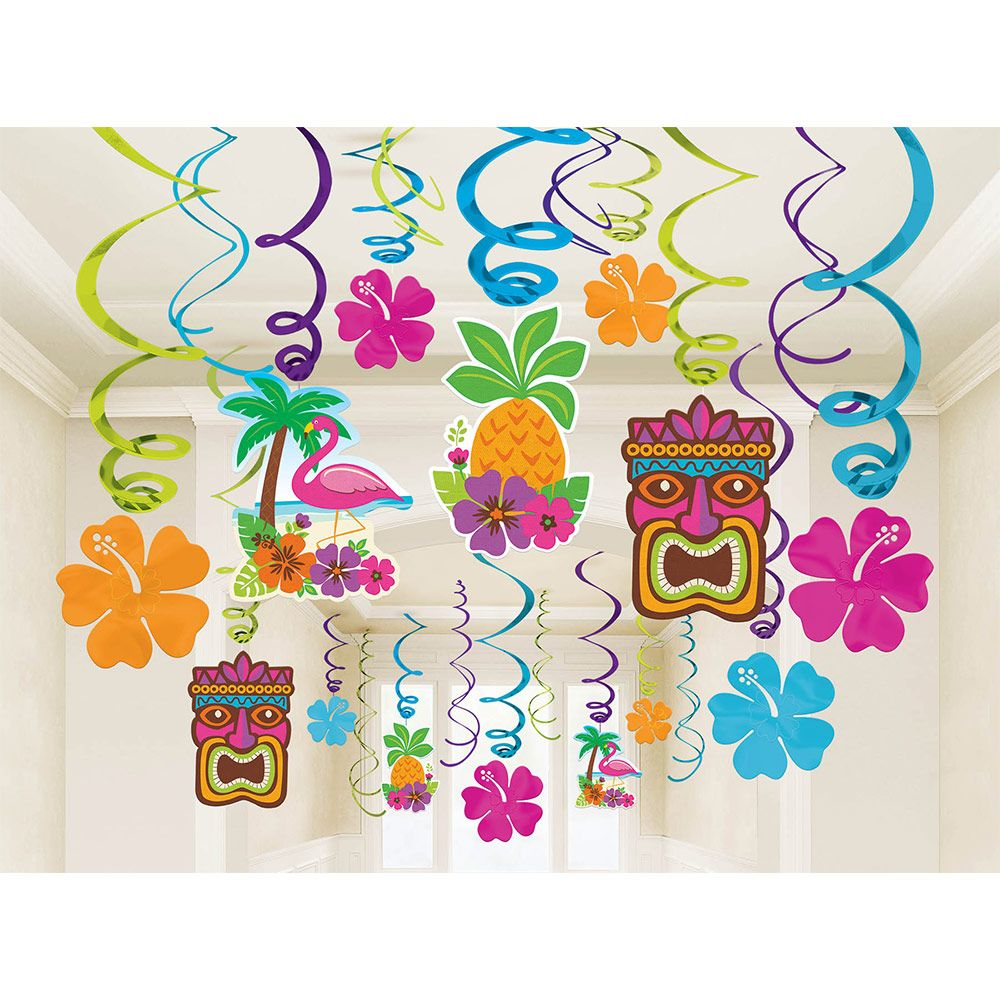 Summer Hawaiian Tropical Beach Party Luau Hanging Swirl Flower Decorations x 12