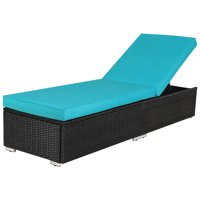 Outdoor Patio Lounge Chair Adjustable Chaise Long Rattan Chair, Wicker Chaise Additional Lounge Chair Patio Furniture, Black Wicker Blue Cushions
