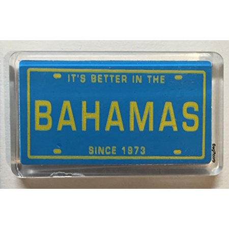 Bahamas License Plate Fridge Small Acrylic Collector's Souvenir Magnet 2 inches X 1.25 inches