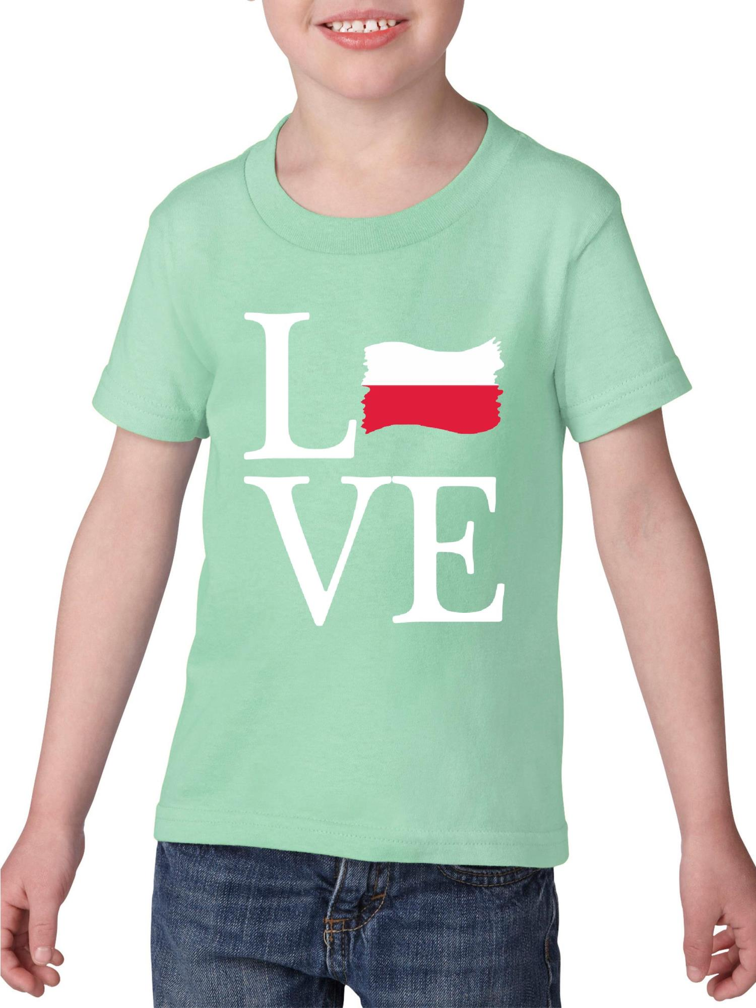 Love Poland Heavy Cotton Toddler Kids T-Shirt Tee Clothing