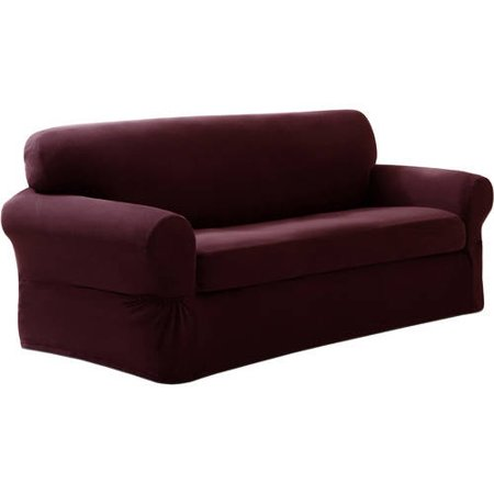Maytex Stretch Pixel 2 Piece Sofa Furniture Cover Slipcover, Wine Red