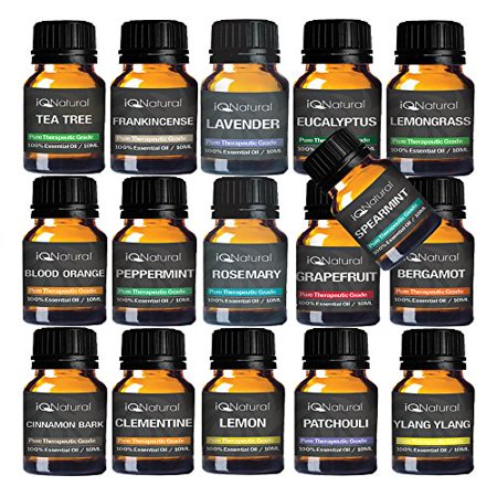 TOP 16 Essential oil Aromatherapy set 100% Pure Undiluted Therapeutic Grade (Lavender, Frankincense, Tea Tree, eucalyptus, Blood Orange, Peppermint, Lemongrass, Rosemary)