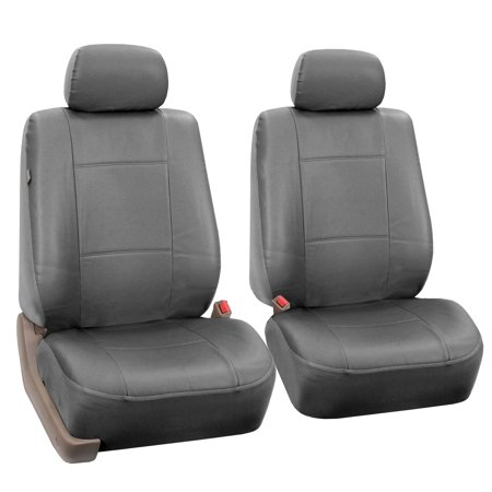 FH Group Gray Faux Leather Airbag Compatible Car Seat Covers, 2 Pack