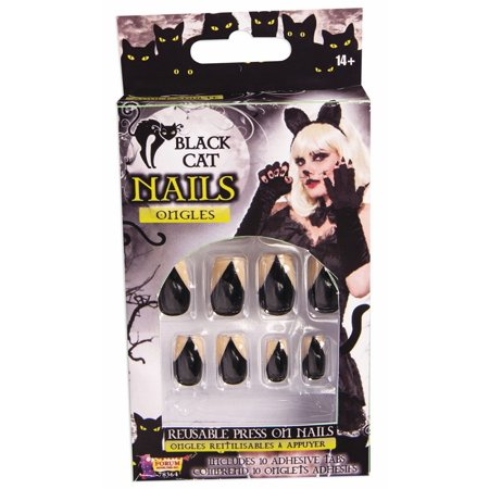 Adult Women's Black Cat Fingernails Press On Dress Up Animal Costume Accessory - Halloween Cat Costume Nails