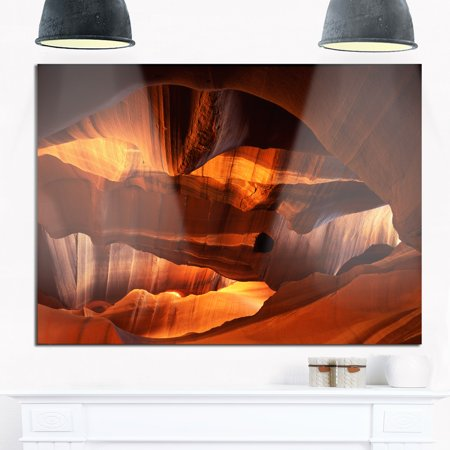 DESIGN ART Red Limestone Caves - Landscape Photo Glossy Metal Wall Art 20 in. wide x 12 in. high