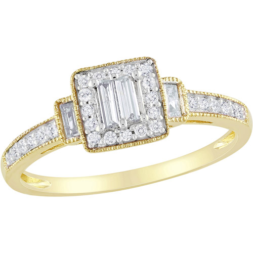 Miabella 1/3 Carat T.W. Baguette and Round Diamond 10kt Yellow Gold Engagement Ring