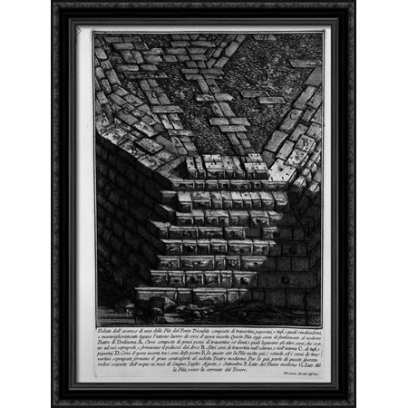 The Roman Antiquities  T  4  Plate Xiv  View Of Bridge St  Angel  From The Castle Towards The Road Of Banks 28X38 Large Black Ornate Wood Framed Canvas Art By Giovanni Battista Piranesi