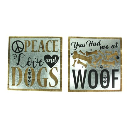 Love And Dogs 2 Piece Rustic Wall Decor