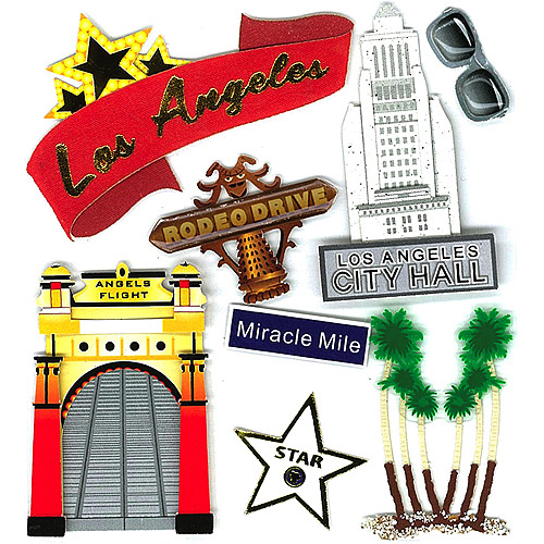 Jolees Boutique Los Angeles Dimensional Stickers Multi-Colored