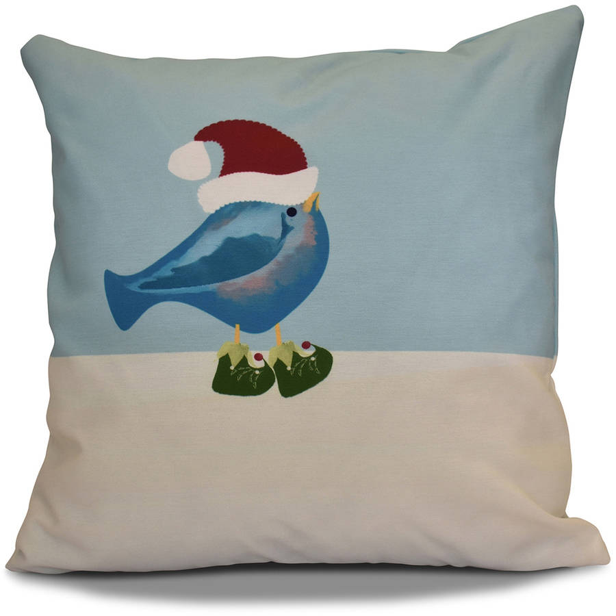 "Simply Daisy 16"" x 16"" Merry Christmas Bird Animal Print Outdoor Pillow"