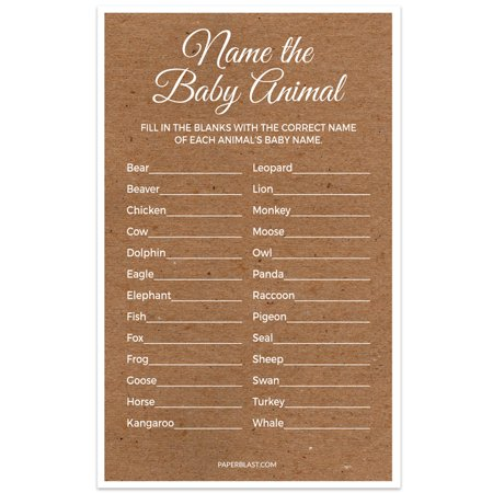 Baby Shower Game - Name the Baby Animal - Set of 30 - Kraft Texture](Baby Animal Baby Shower)