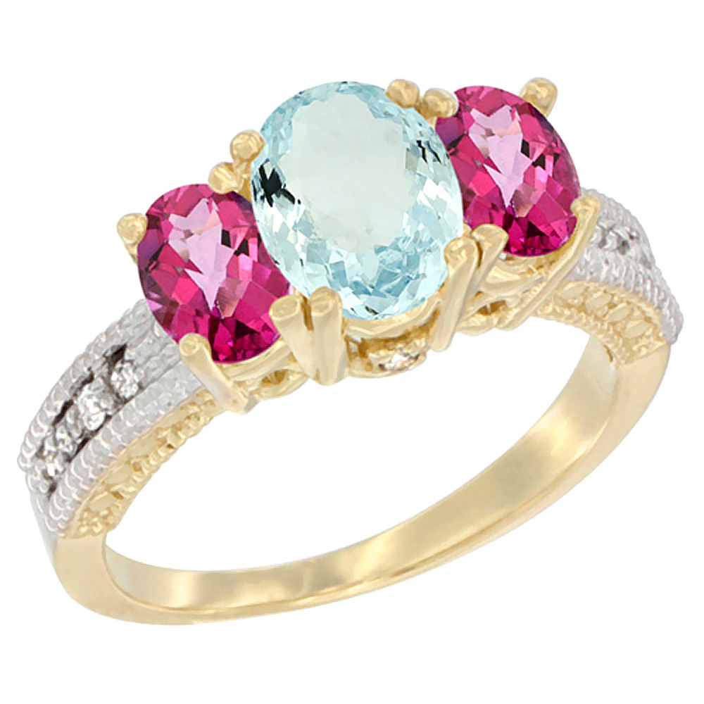 10K Yellow Gold Diamond Natural Aquamarine Ring Oval 3-stone with Pink Topaz, sizes 5 10 by WorldJewels