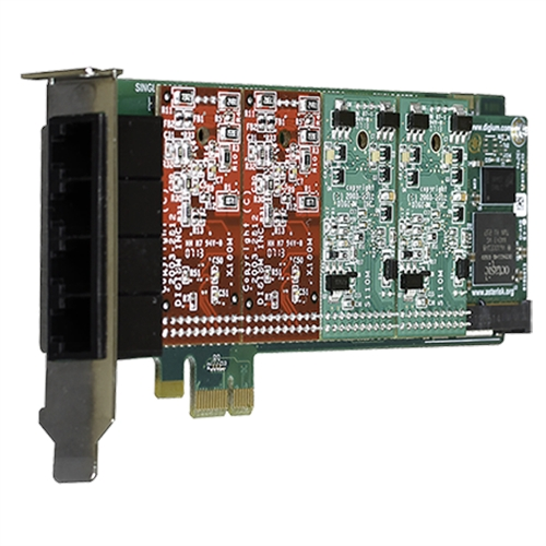 Digium 4 Port Modular Analog PCI-Express x1 Card with 4 Station interfaces and HW Echo Can 1A4B06F