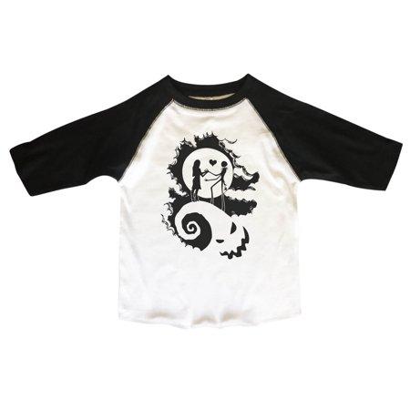 "Tim Burton Child (Kids 3/4 Sleeves ""Nightmare Before Christmas"" Tim Burton Toddler & Youth Baseball Tee X-Large,)"