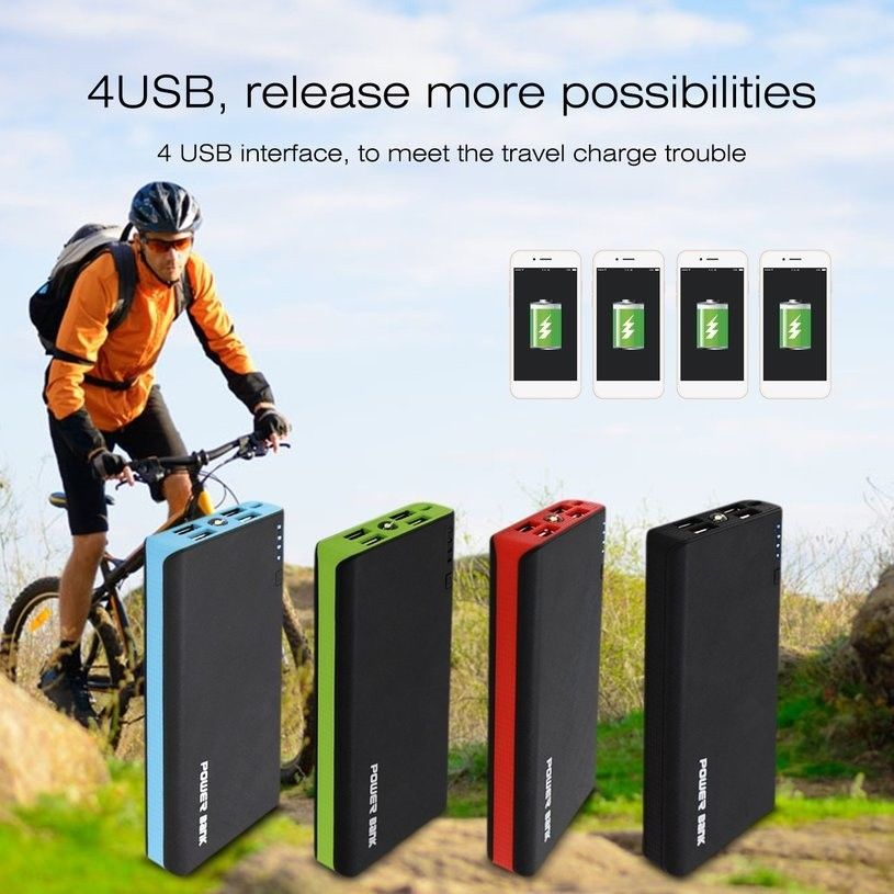 4 USB 500000mAh Power Bank LED External Backup Battery Charger for Cell Phone(Green)