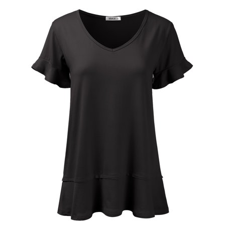 Doublju Women's Short Sleeves Flare Tunic Tops for Leggings Flowy Shirt BLACK -