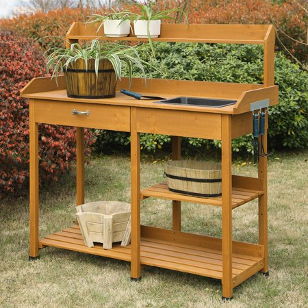 Awe Inspiring Convenience Concepts Planters And Potts Deluxe Potting Bench Home Interior And Landscaping Ologienasavecom