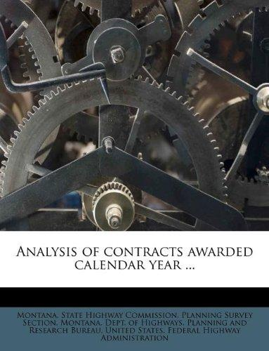 Analysis of Contracts Awarded Calendar Year ... by