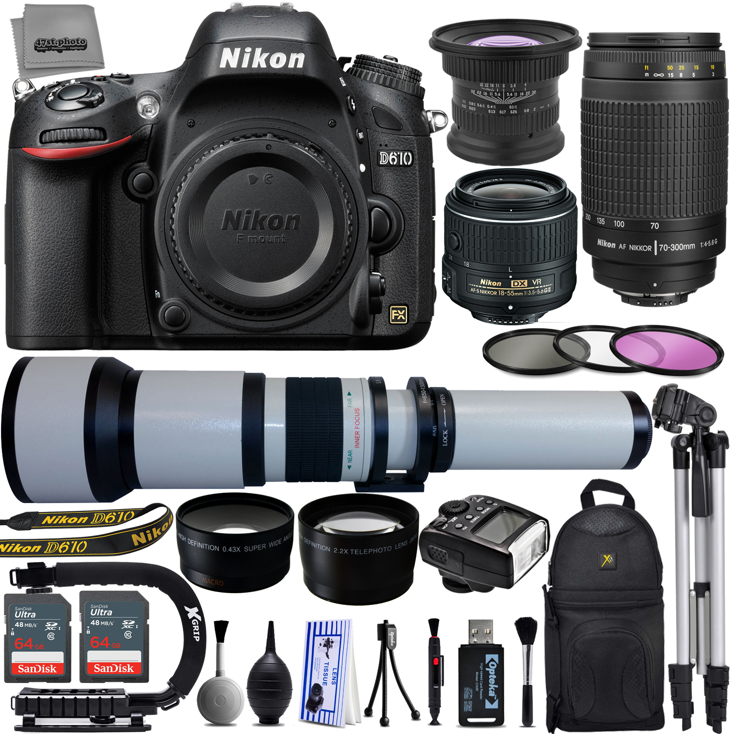 "Nikon D610 24.3MP 1080P FX DSLR Camera w/ 3.2"" LCD- Wi-Fi & GPS Ready- Built in Flash w/ Nikon 18-55mm VR II - Nikon 70-300mm G - 650-2600mm 5 Lens - 128GB - 23PC Ultra Zoom Kit"