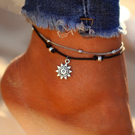 - Girl12Queen Boho Double Layer Anklet Sun Pendent Charm Women Foot Chain Ankle Bracelet