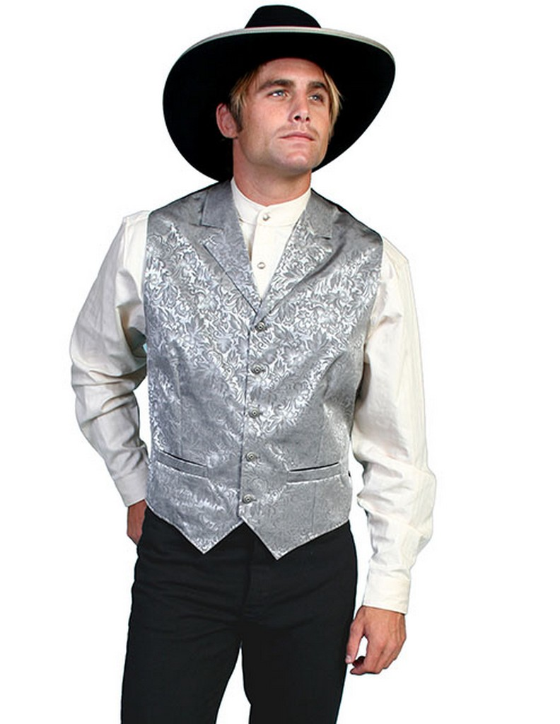 Scully Western Vest Mens Silk Adjustable Back Button Front 535354