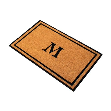 Envelor Home And Garden Customized Monogram M Coir Doormat Coco Welcome Mat Outdoor Rugs Non Slip Outside Front Door Personalized Monogrammed Shoe