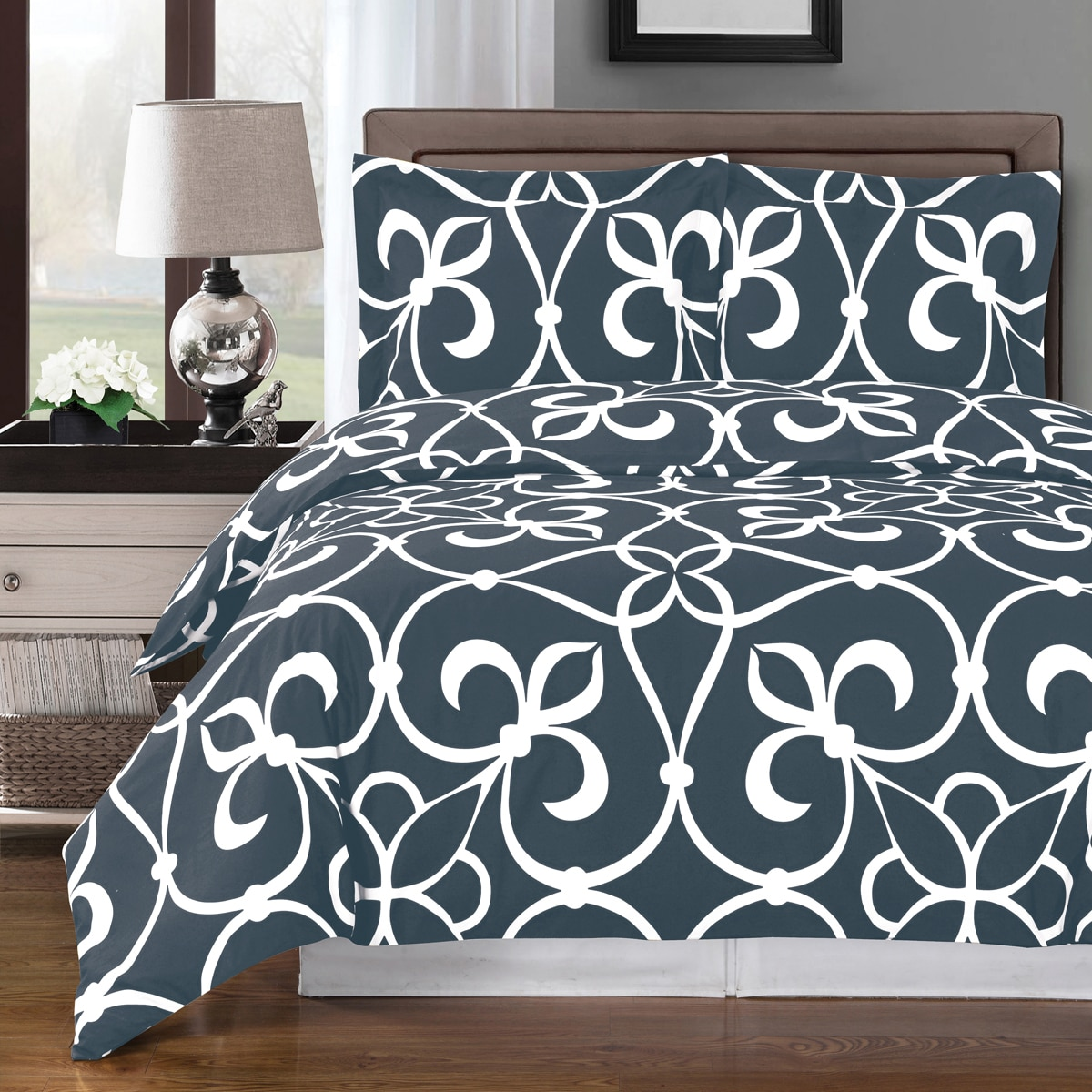Clearance: Soft 100% Cotton 3 Piece Duvet Cover Set Printed - Full/Queen - Victoria Gray
