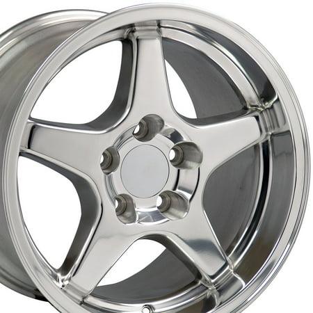 OE Wheels | 17 Inch ZR1 Style | Fits Chevy Camaro Corvette Pontiac Firebird | CV01 Polished 17x11 Rim- REAR ONLY