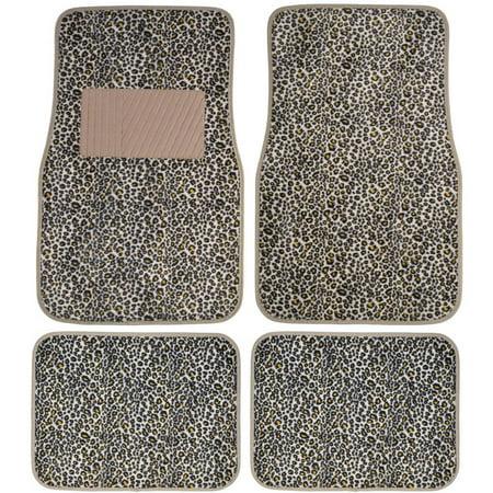 BDK Cheetah Car Floor Mats, Animal Prints Mat, 4 Pieces, Beige - Chetta Print