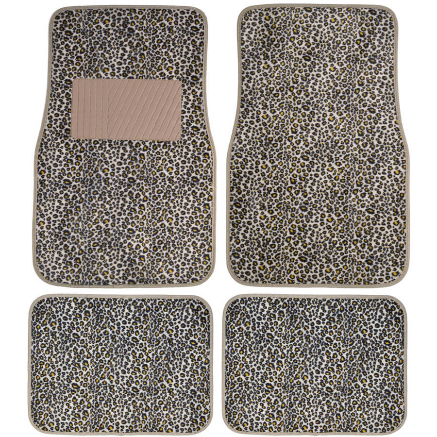 BDK Cheetah Car Floor Mats, Animal Prints Mat, 4 Pieces, Beige