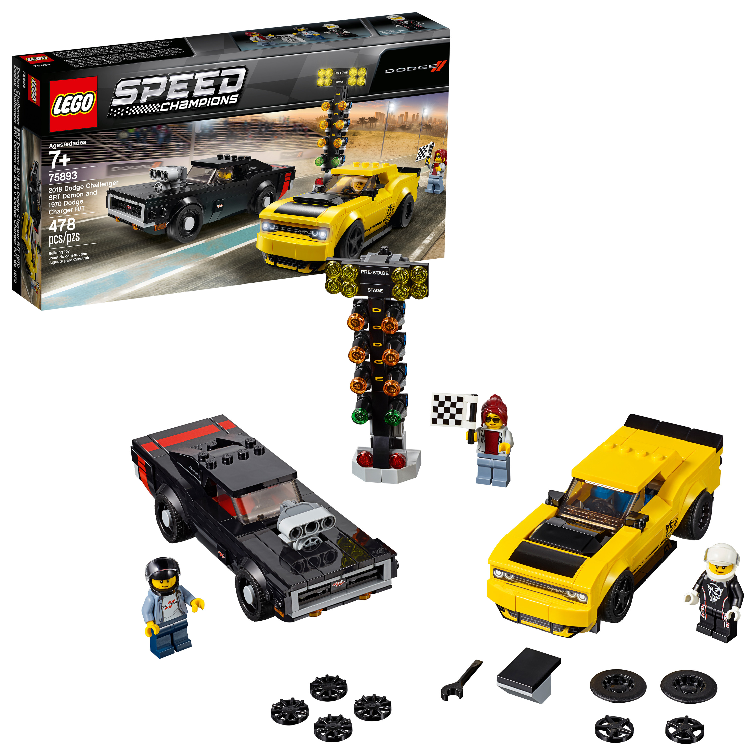LEGO Speed Champions 2018 Dodge Challenger SRT Demon and 1970 75893 Building Car