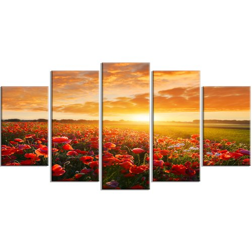 Design Art 'Beautiful Poppy Field at Sunset' Photographic Print Multi-Piece Image on Canvas