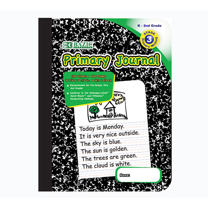 BAZIC 100 Ct. Primary Journal Marble Composition Book (1 book per pack)