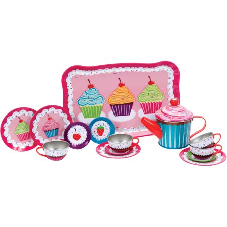 Schylling Cupcake Tin Tea Set - Kids Tea Party Set