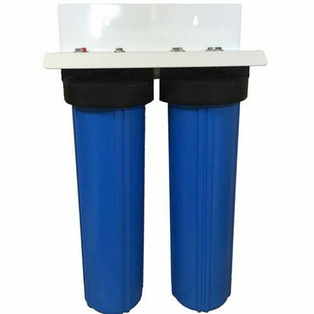 "DUAL BIG BLUE WATER FILTERS HOUSING 4.5"" X 20"" 1""NPT"