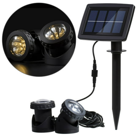 Image of Lixada Solar Powered Super Bright 2 Underwater Lamps 12 LEDs Light Sensor Projector Light Garden Pool Pond Yard Submersible Spotlight Outdoor Landscape Lighting Use Warm White